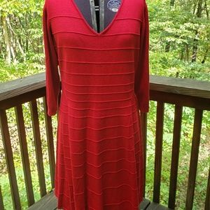 Red Fit and Flair Sweater Dress